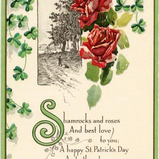 Shamrocks and Roses ~ Free Vintage Postcard Image