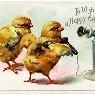 Easter Chicks on Telephone ~ Free Vintage Image