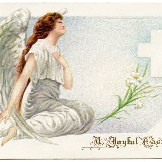 vintage easter postcard, angel clip art, old fashioned easter card, angel kneeling by cross, religious easter illustration