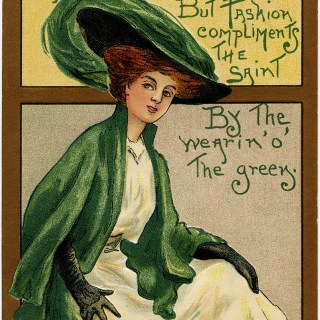 Lady in Green ~ St. Patrick's Day Postcard Image