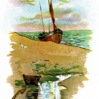 Sailing Ship on Beach Scene ~ Free Vintage Clip Art