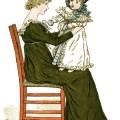 Kate Greenaway, to baby poem, vintage storybook image, printable story illustration, mother baby clip art