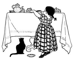 victorian girl clip art, within reach, child feeding cat, black and white illustration, cute animal printable, girl kitten vintage clipart