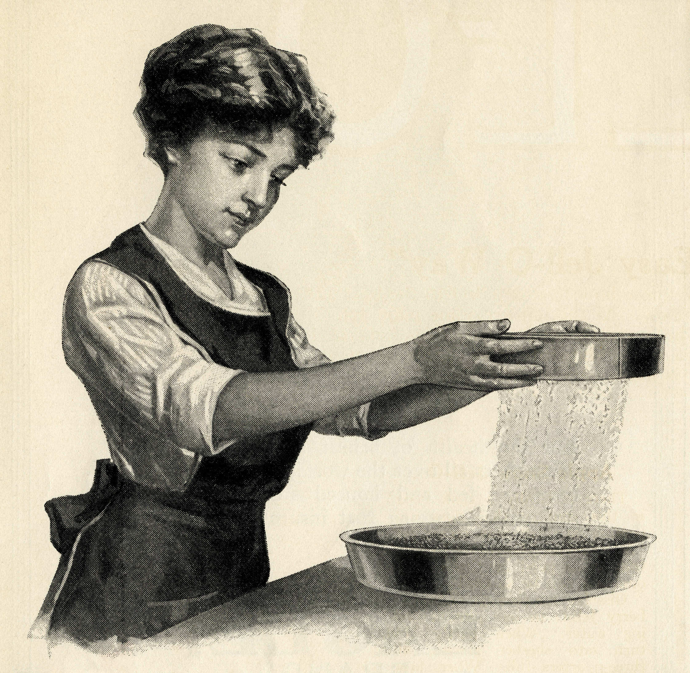Retro Woman In Kitchen: Young Woman Cooking Clip Art