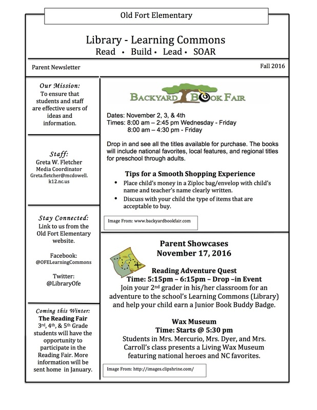 Newsletters - Old Fort Elementary School Learning Commons