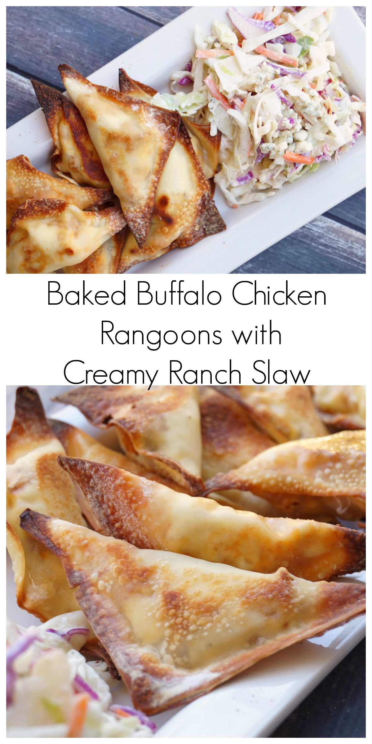 Farmhouse Rules Chicken Parmesan Baked Buffalo Chicken Rangoons With Creamy Ranch Slaw
