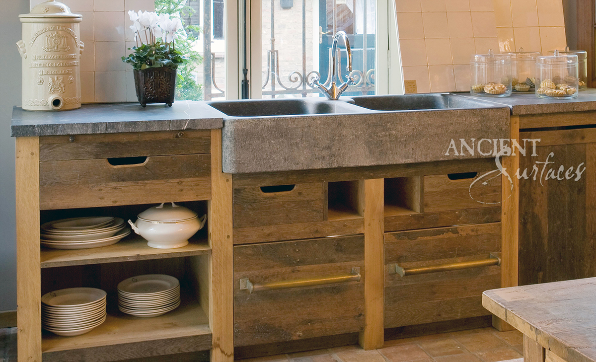 old world kitchen basalt sinks by ancient surfaces stone kitchen sink Hand Carved Double Basalt Sink with Reclaimed Wood Cabinets and Antique Stone Floors