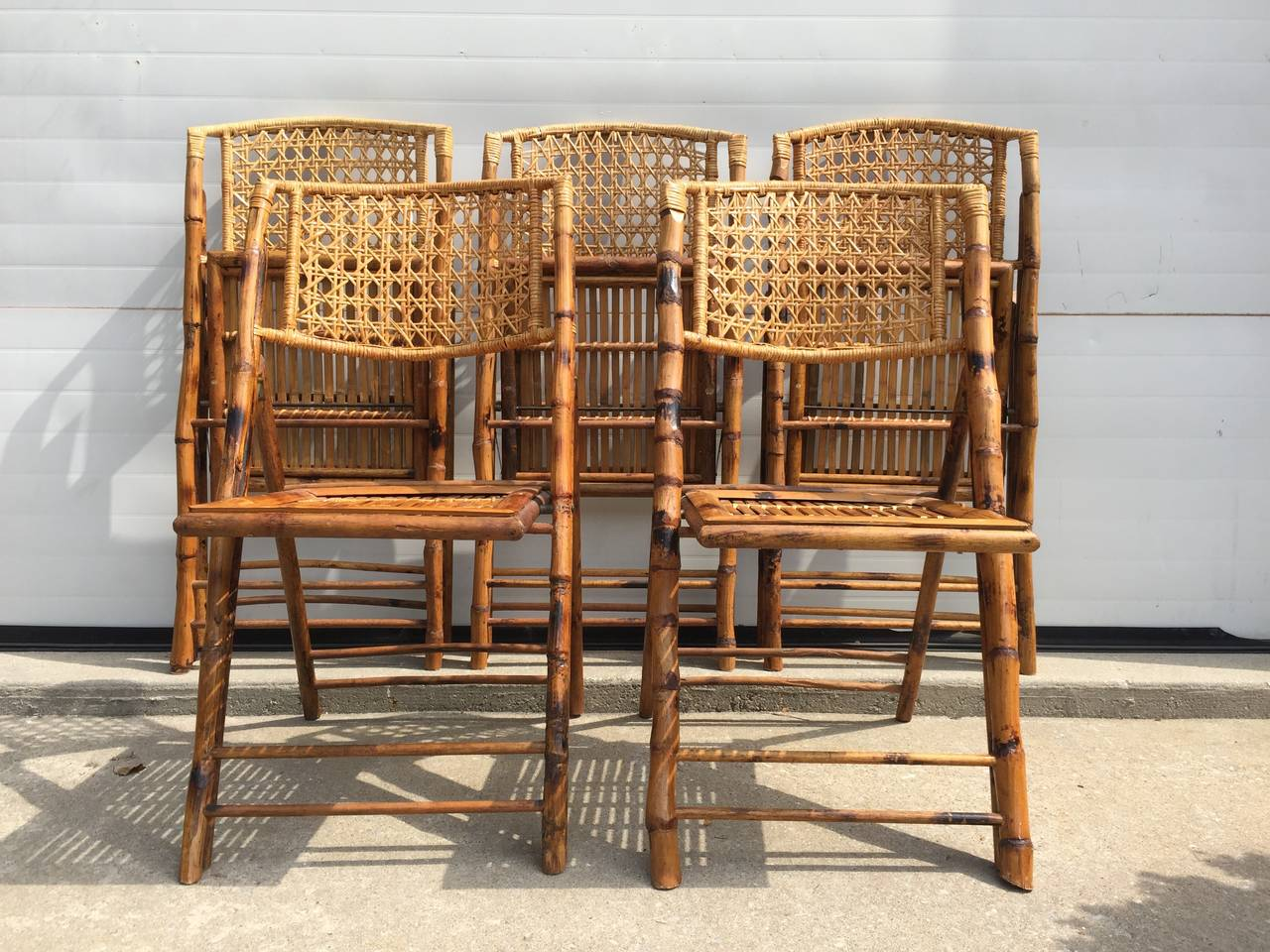 Rattan Chairs Set Of Five Scorched Bamboo Frame Folding Chairs With Rattan Seat And Back