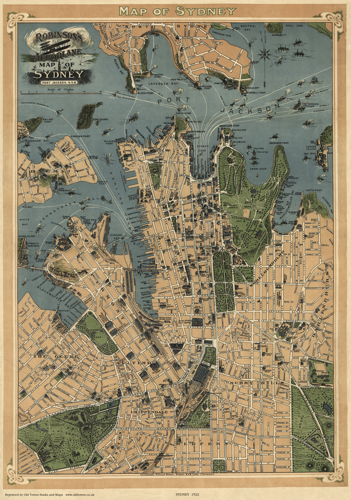Map Store Sydney Old Map Of Sydney Australia In 1922 City Plan Repro
