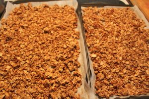 Golden Brown Granola just out of the oven.