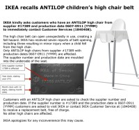 Recall Alert: Ikea recalls high chairs after warning kids