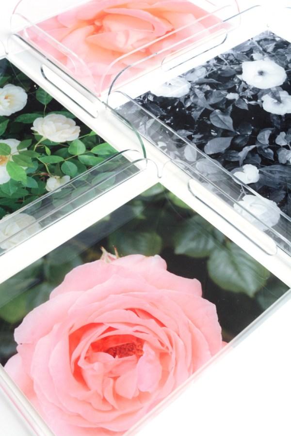 garden rose acrylic tray