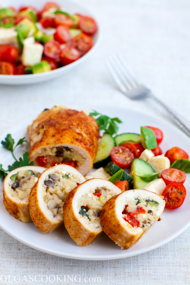 Mediterranean Style Stuffed Chicken Breast - Olgas Cooking