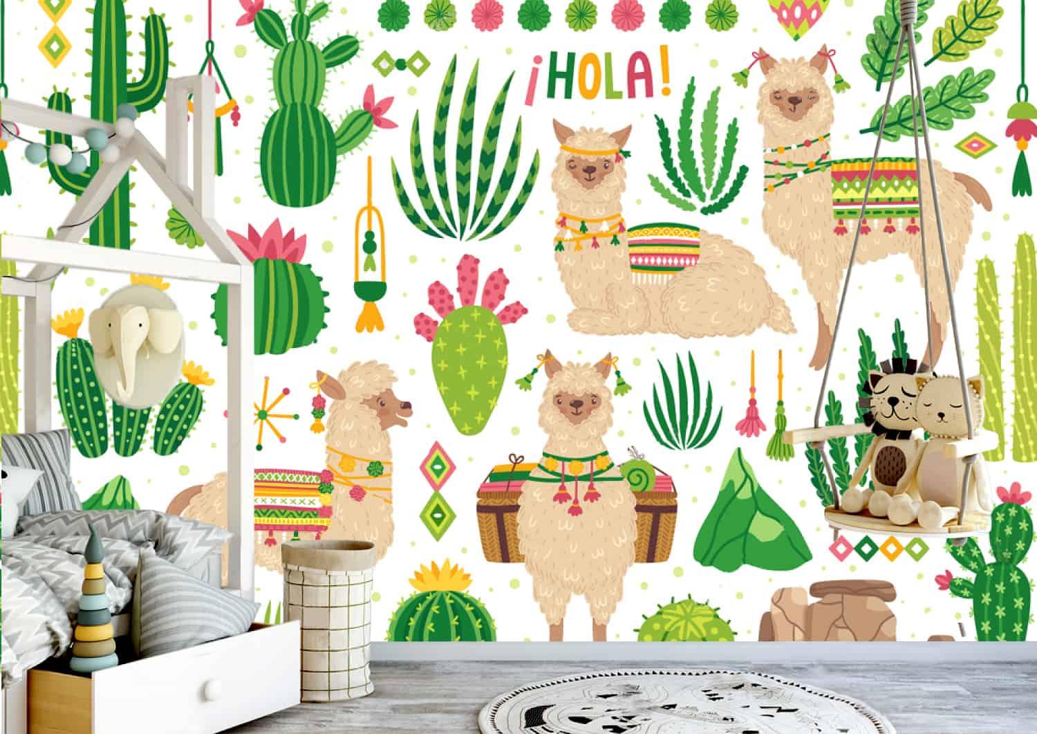 Décoration Murale Adhésive Lama With Cactus Cactus And Flowers Mexico Colorful Nursery Wallpaper Art Beautiful Decor Large Photo Wall Mural Adhesive Vinyl