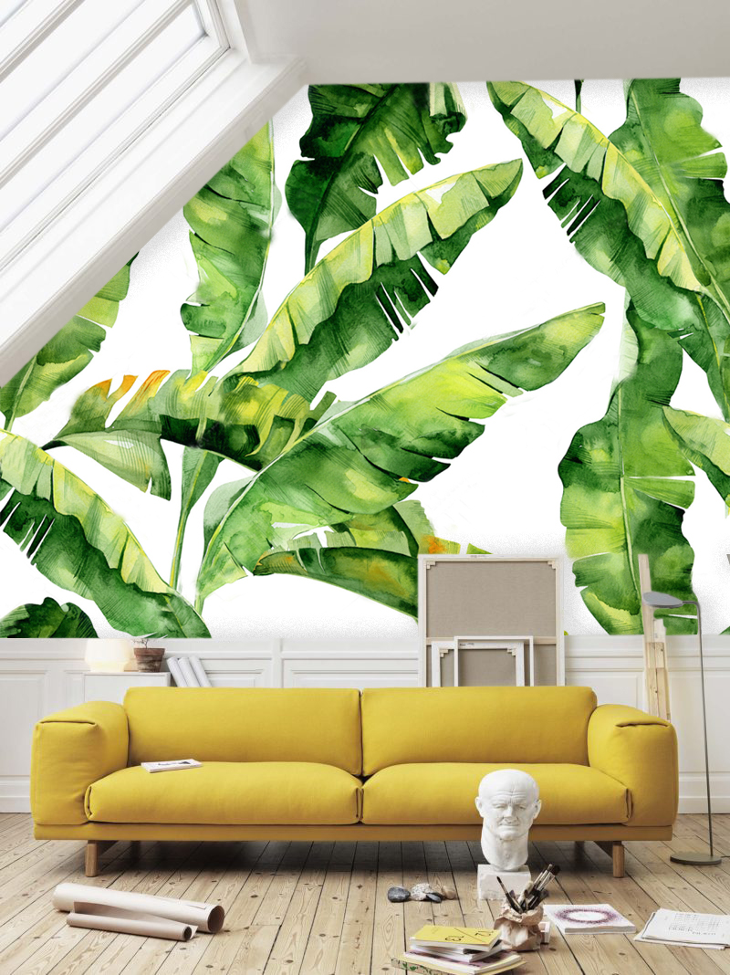Décoration Murale Adhésive Wallpaper Vinyl Self Adhesive Beautiful Tropical Leaves In Watercolor Large Photo Wall Mural