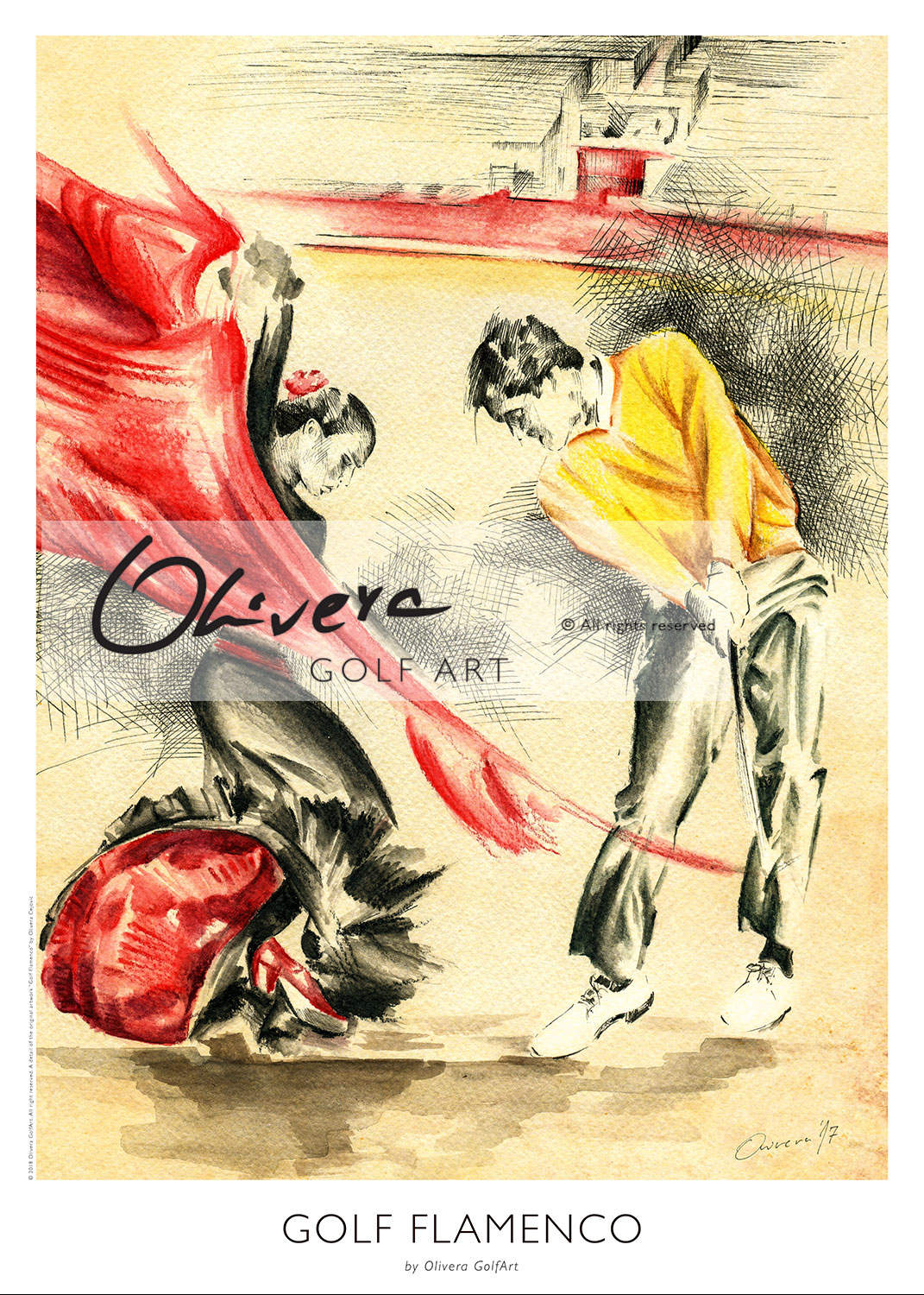 Flamenco Arte Y Ole Golf Flamenco Poster Olivera Golfart
