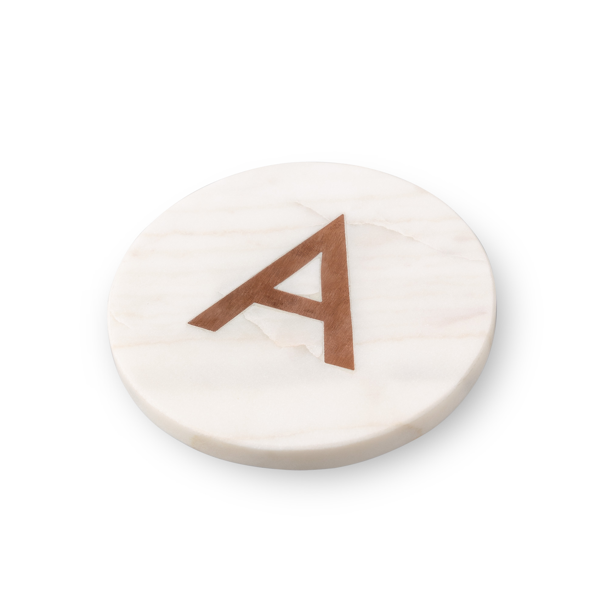 White And Gold Coasters Marble And Copper Alphabet Coaster A Gifts Oliver Bonas