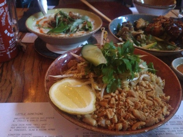 Chin Chin - Pad Thai noodles, Tom Kha & Barramundi and Caramelised Pork Salad