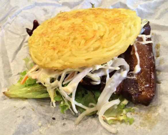 Shizuku - Ramen burger w candied pork belly.