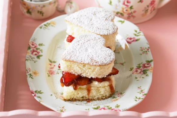Valentine's Day - Strawberry Love Heart Sponge Cakes.