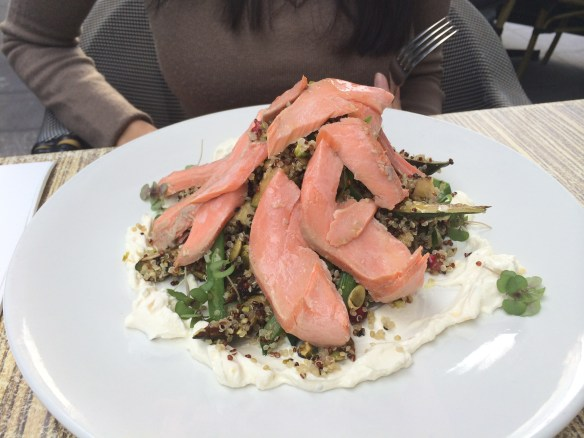 The Artful Dodger - Miso smoked trout w Grilled zucchini salad, quinoa, preserved lemon & fennel labneh.
