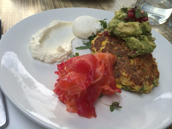 The Artful Dodger - Corn & zucchini fritters w beetroot vodka cured salmon.