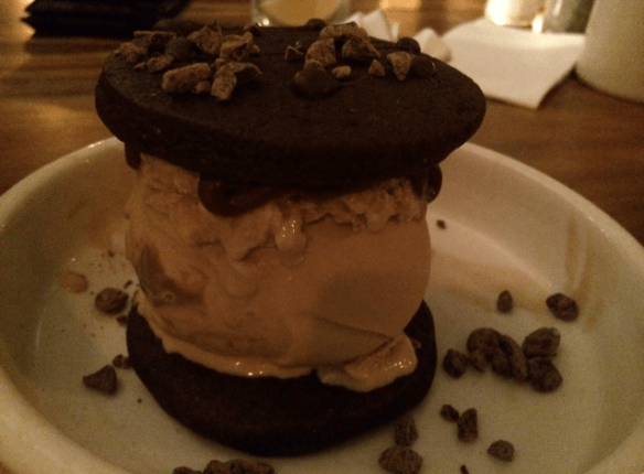 Meatball & Wine Bar - Whoopie Mac! Chocolate cookie and caramel ice-cream sandwich.