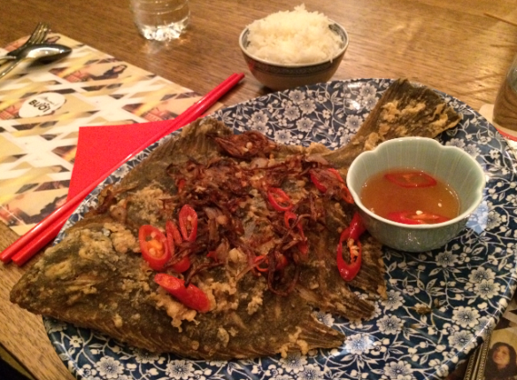 Mama's Buoi Melbourne Pop Up - Crispy whole flounder w ginger, chilli and lime dressing