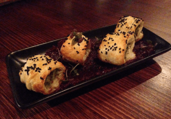 Beer deluxe - Chicken & goats cheese sausage rolls w beetroot and fig paste