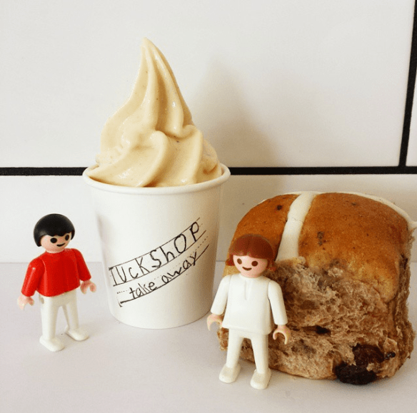 Melbourne Easter 2015 - Hot cross bun soft serve. Image credit: tuckshoptakeaway