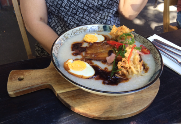 Breakfast Thieves - Congee w sticky honey-braised pork