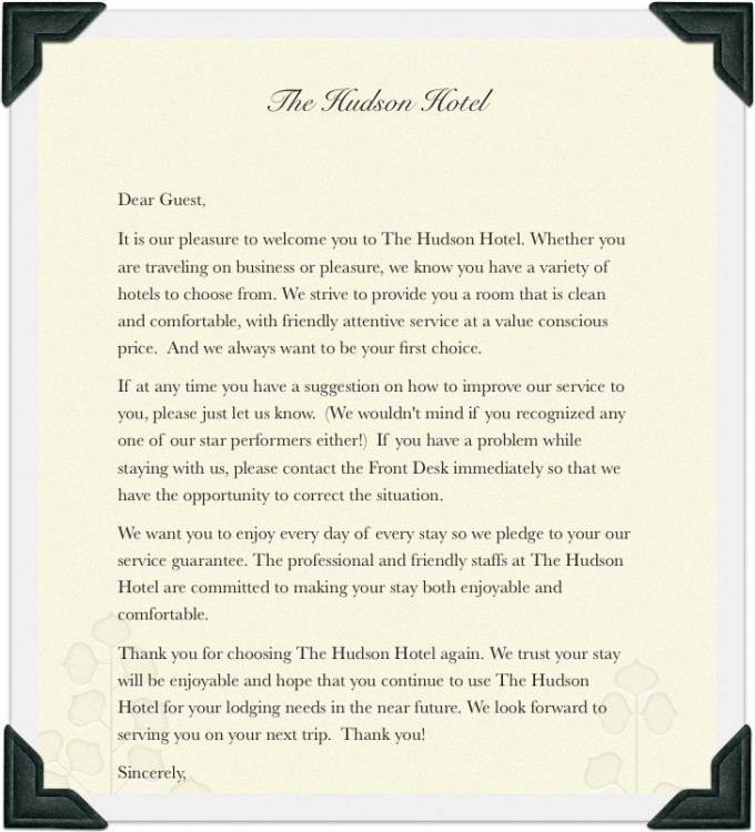 Similiar Guest Welcome Letter Sample Keywords - sample welcome letter