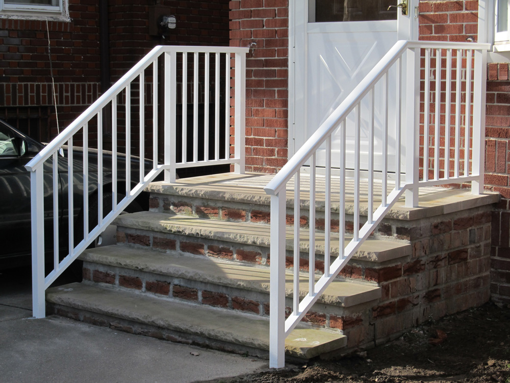 white aluminum porch railing