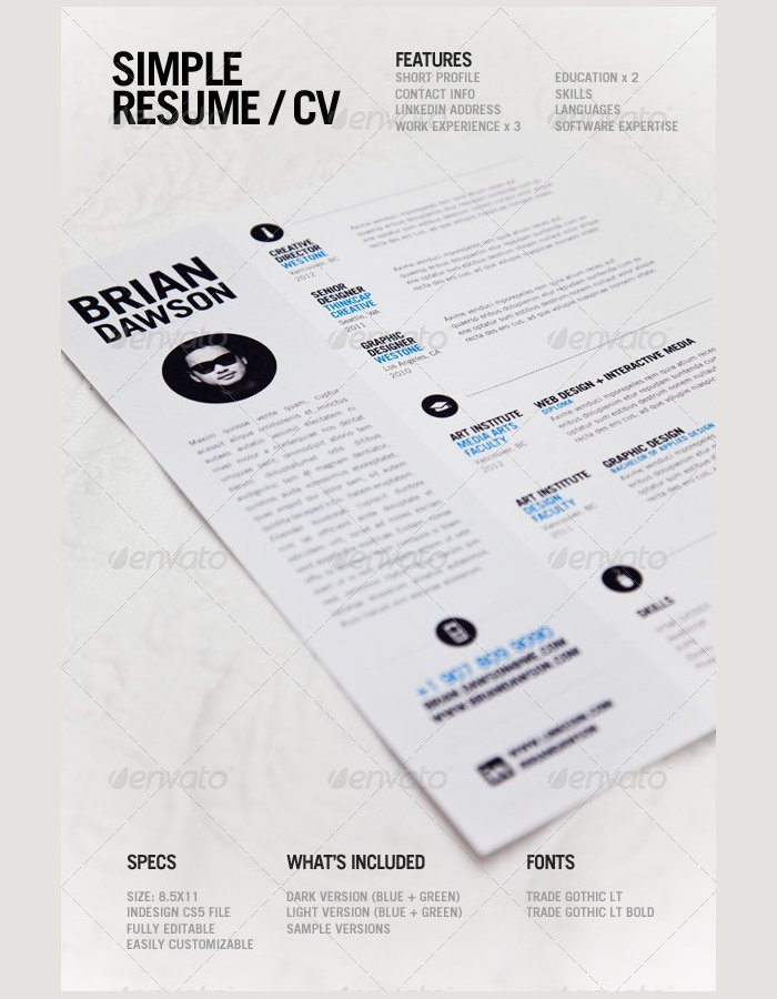premium-simple-resumejpg (700×900) Inspirations Pinterest - graphic design resume ideas