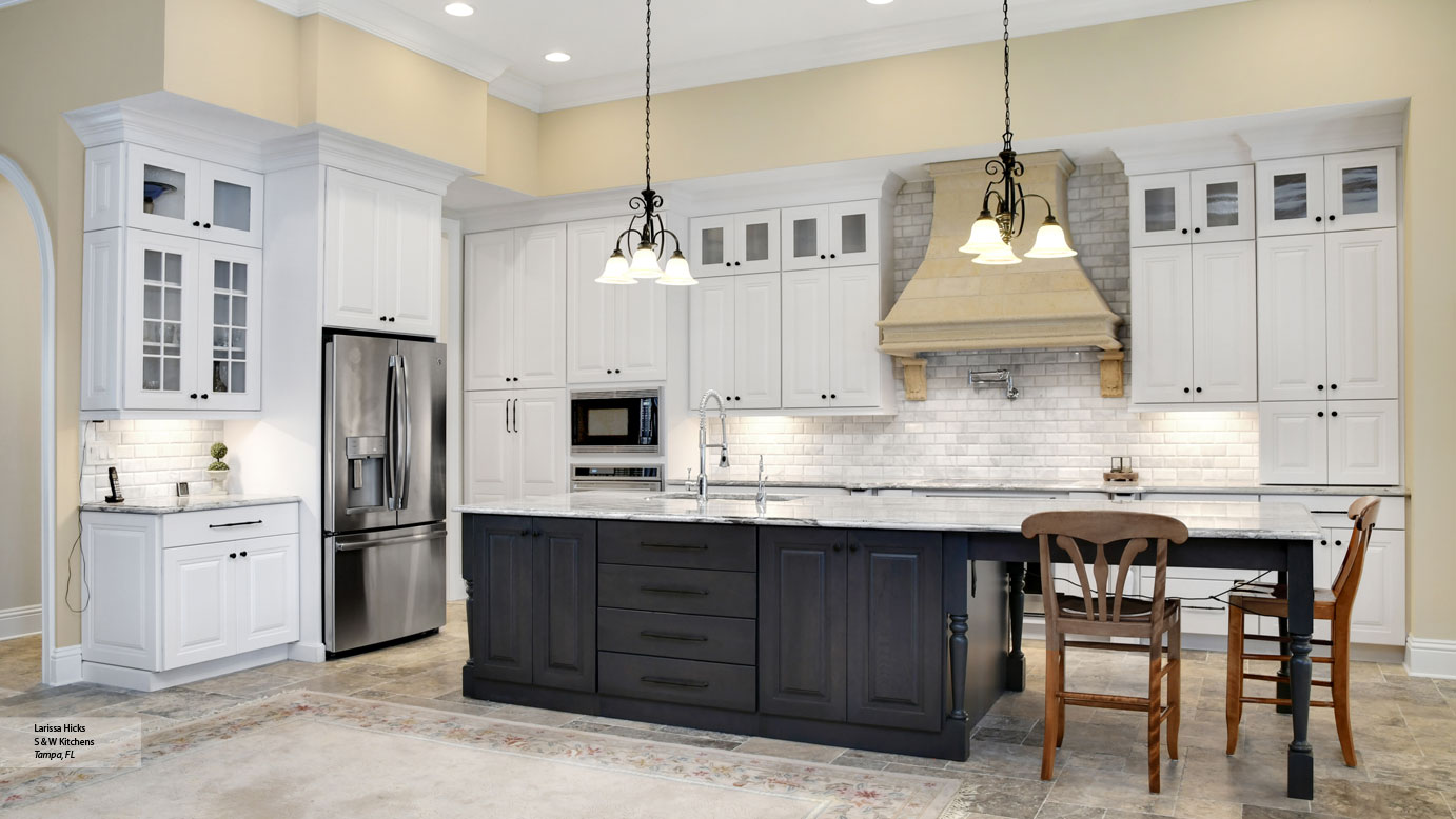 Traditional Kitchens With White Cabinets Kitchen With White Cabinets And A Gray Island Omega