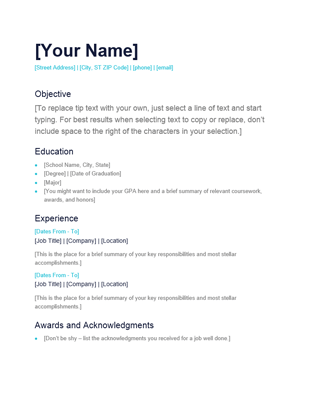 Free Microsoft Word Resume And Letter Templates Simple Resume Templates Office