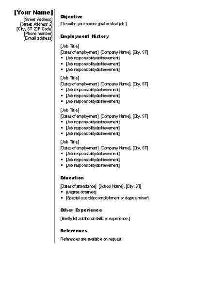 chronological resume (vertical design)