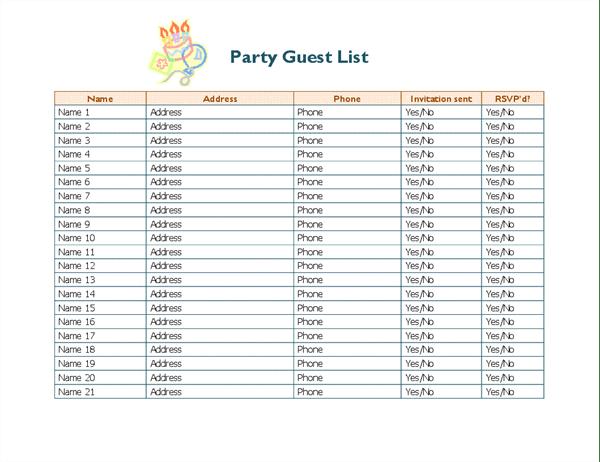invitation list