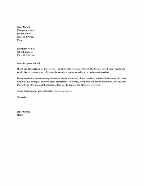 Business Letter Template For Word Sample Business Letter Letter Requesting References From Job Applicant Office