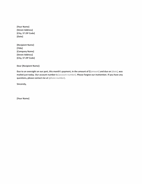 Apology Letter For Late Payment - Office Templates