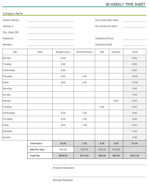 bi weekly hour calculator