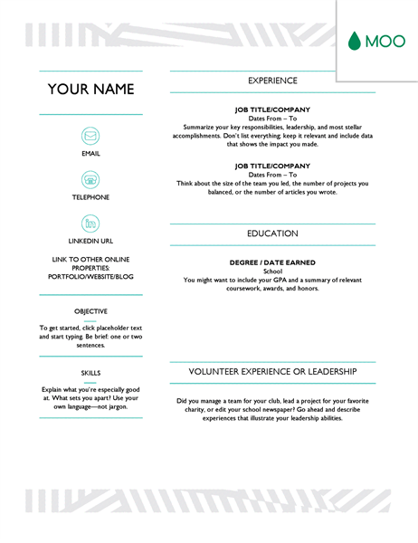 resume template designed by moo