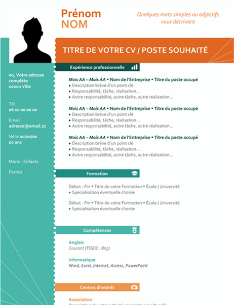 cv moderne colore design vertical format libre office