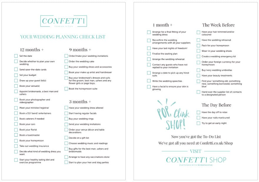 The Ultimate Wedding Planning Checklist - Confettiuk