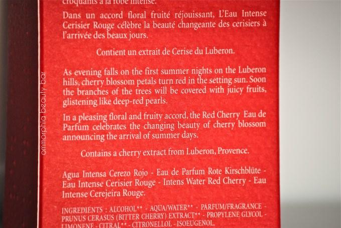 L'Occitane Cerisier Rouge label