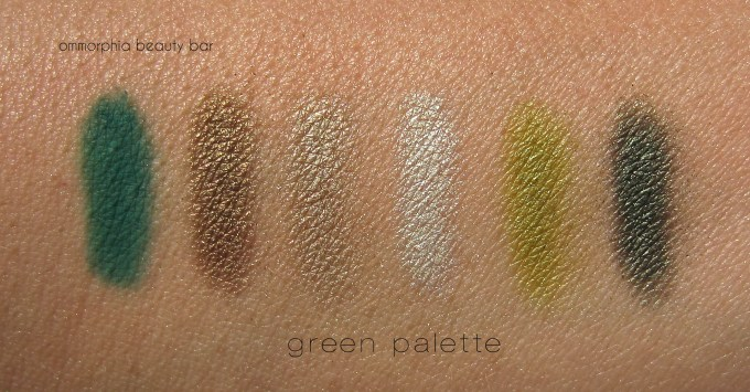 Shu Uemura Brave Beauty Green palette swatches