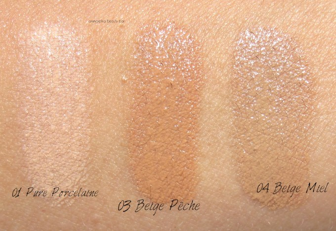 Lancome Miracle Cushion trio swatches