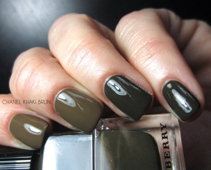 Burberry Khaki Green vs CHANEL Khaki Brun swatches
