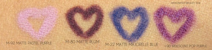 MUFE Aqua XL pencils purple group swatches