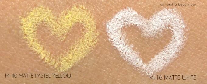 MUFE Aqua XL pencils white & yellow swatches